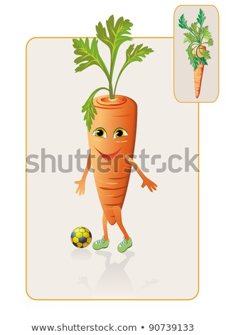 Funny And Realistic Carrot Playing Football Stok fotoğraf © denisgo