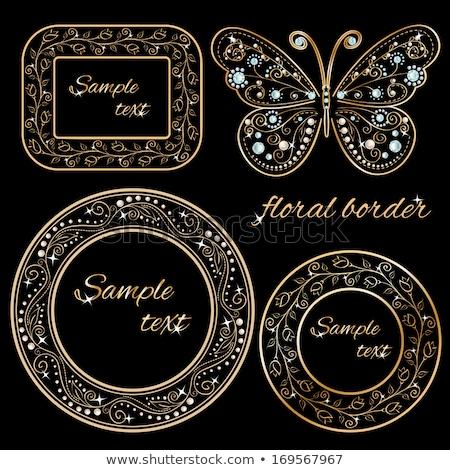 Frame bloemen juwelen illustratie textuur ontwerp Stockfoto © yurkina