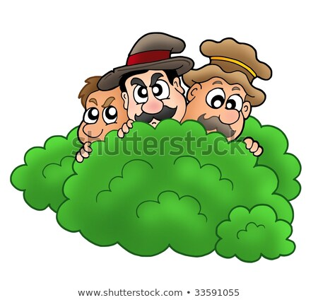 Cartoon robbers behind bush Stock photo © clairev