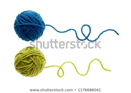 синий мяча пряжи белый текстуры Сток-фото © EwaStudio