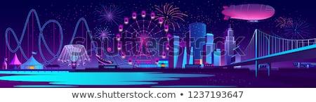 Parque de diversões noite luz linha do horizonte carnaval tenda Foto stock © alex_grichenko