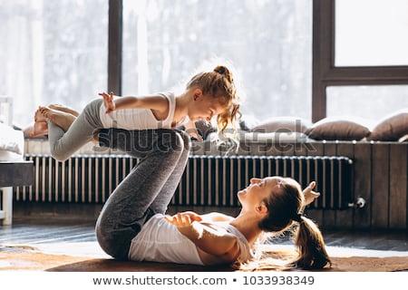 bebek · spor · uygunluk · yoga · sarışın - stok fotoğraf © runzelkorn