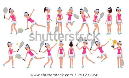 Teniszező poszter színes szerver sebesség sziluett Stock fotó © leonido