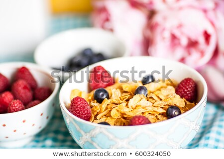 Bran breakfast cereal with blueberries Stock photo © raphotos