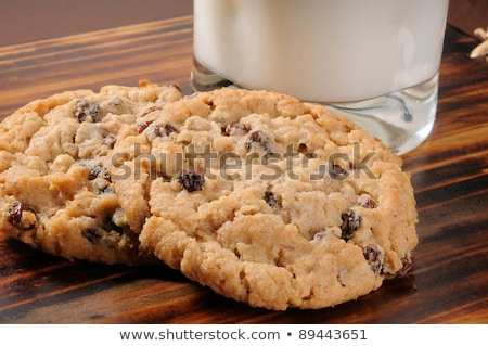 oatmeal raisin cookie with a glass of milk stock photo © sarahdoow