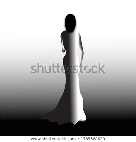 Rear View of Shapely Lady in Evening Gown Stock photo © gromovataya