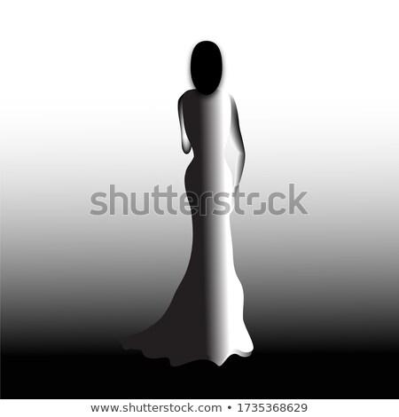 Widok z tyłu pani wieczór suknia moda kobiet Zdjęcia stock © gromovataya
