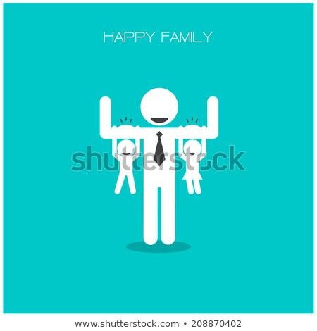 Happy family 's day  father, mother, son , girl idea design Stock photo © kiddaikiddee
