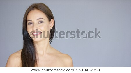 Bare Long Hair Woman on Gray Background Stock photo © dash