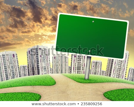Billboard against high-rise buildings, curved Earth Stock photo © cherezoff