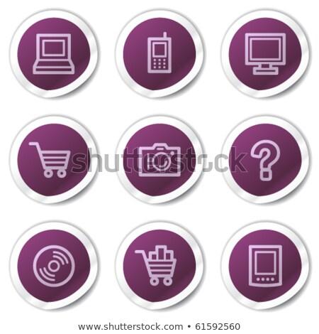 Gyik lila vektor ikon gomb háló Stock fotó © rizwanali3d