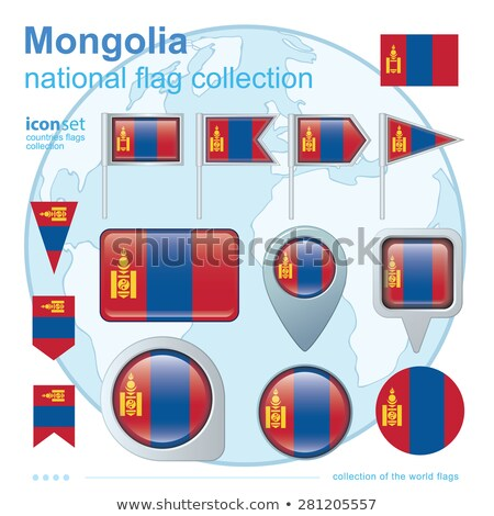 map on flag button of mongolia stock photo © istanbul2009
