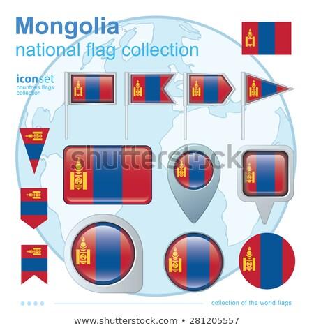 Térkép zászló gomb Mongólia vektor kép Stock fotó © Istanbul2009