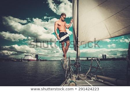 jóképű · férfi · vitorla · csónak · jóképű · erős · férfi - stock fotó © anna_om