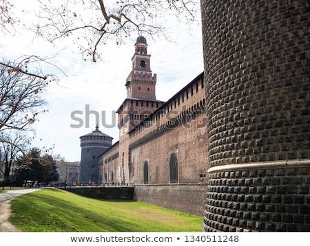 Stockfoto: The Outer Wall Of Castello Sforzesco Sforza Castle In Milan I