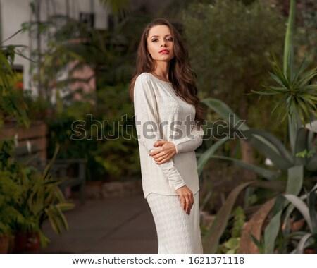 mosolyog · fiatal · nő · fehérnemű · barna · hajú · göndör · haj - stock fotó © stryjek