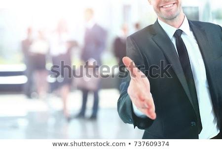 hombre · de · negocios · mano · apretón · de · manos · retrato · positivo · hombre - foto stock © fuzzbones0