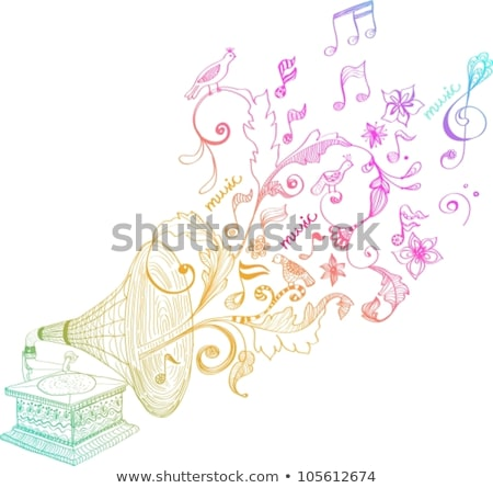 Vintage Gramophone, Record player background with floral notes Stock photo © Elmiko