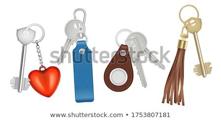 Anahtar tuşları mavi kapı arka plan Retro Stok fotoğraf © Niciak