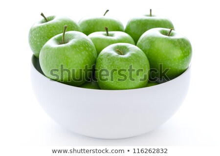Yeşil elma beyaz çanak minimalist stil Stok fotoğraf © ralanscott