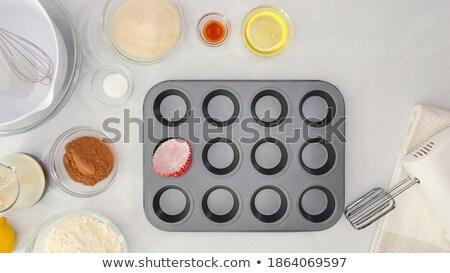 12 minitorta sütés tálca izolált fehér Stock fotó © Digifoodstock