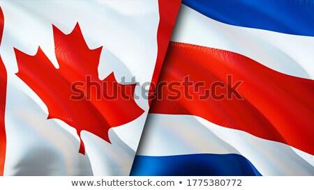 Stockfoto: Canada · Costa · Rica · vlaggen · puzzel · geïsoleerd · witte