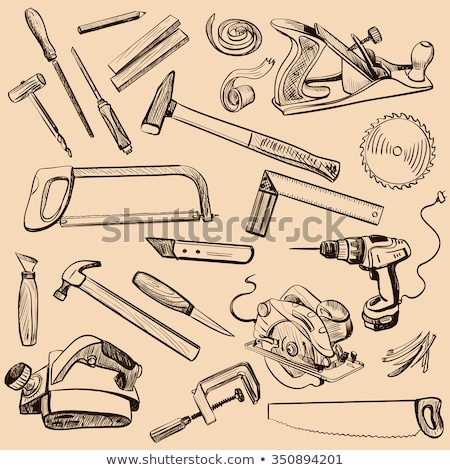 Joinery icons set. Carpenter character at work. Stock photo © netkov1