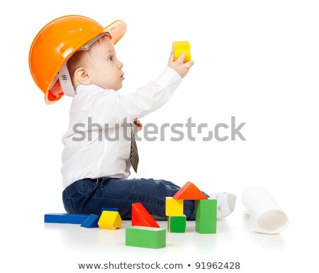 Cute little boy in hard hat and tie Stock photo © ozgur