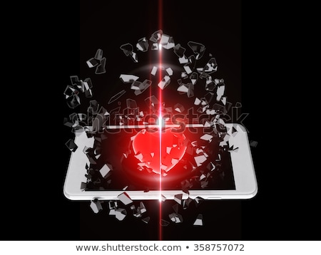 Red heart burst out of the smartphone, lens flare Stock photo © teerawit
