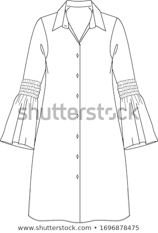 Flat Fashion Template Illustration - Party dress with collar tie and wide skirt in printed geometric Stock photo © gigi_linquiet