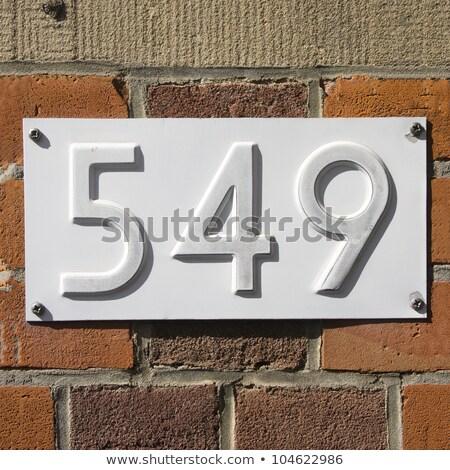 maison · nombre · 16 · signe · noir · mur - photo stock © meinzahn