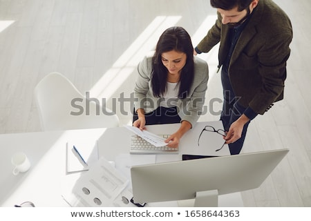 A topview of two people at the table Stock photo © bluering