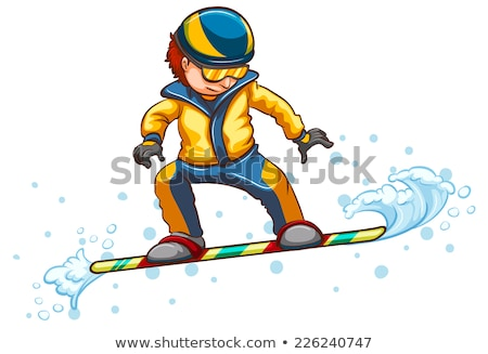A drawing of a boy engaging in a wintersport activity Stock photo © bluering