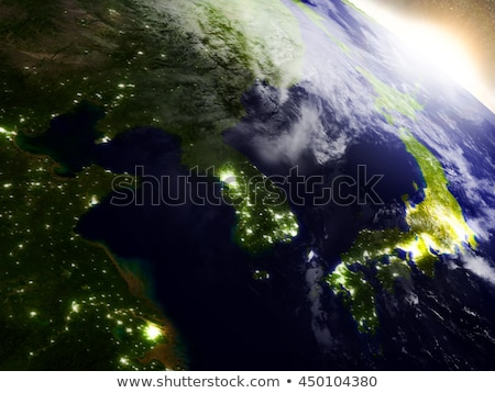 South Korean and North Korea from space during sunrise Stock photo © Harlekino