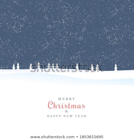 Minimalist snowy landscape as a Christmas card Stock photo © orson
