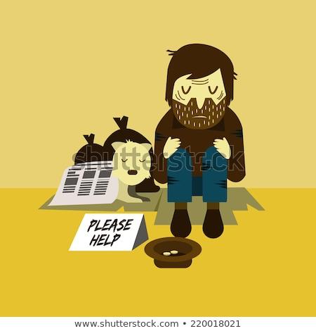 бедные · бездомным · собака · Cartoon · иллюстрация · помочь - Сток-фото © mangsaab