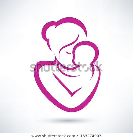 set silhouette sketch mother and child mother holding a baby breastfeeding symbol logo hand drawi stock photo © lucia_fox