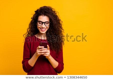 Vrolijk jonge vrouw telefoon portret vergadering Stockfoto © deandrobot
