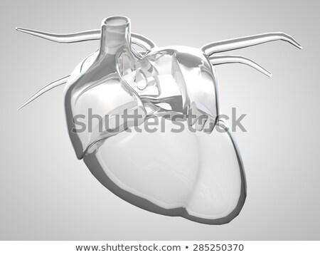 red glass heart as medical background 3d illustration stock photo © tussik
