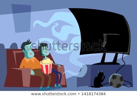 Zumbi assistindo tv arrepiante morto homem Foto stock © robuart