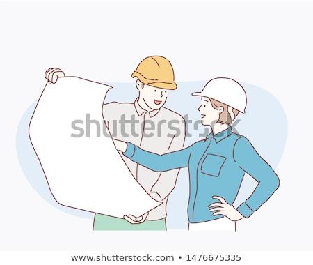 ingenieur · kijken · blauwdruk · bouwplaats · permanente · weg - stockfoto © rastudio