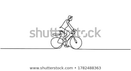 Karalama karakter adam bisiklete binme örnek spor Stok fotoğraf © bluering
