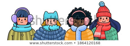 Vector cartoon style illustration of mittens with title 'warm wi Stock photo © curiosity