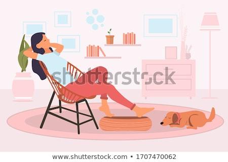 beautiful young woman relaxing vector stock photo © nikodzhi