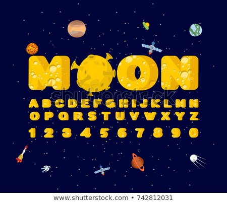 Moon font. Yellow letters of moon texture. Vector alphabet Stock photo © popaukropa
