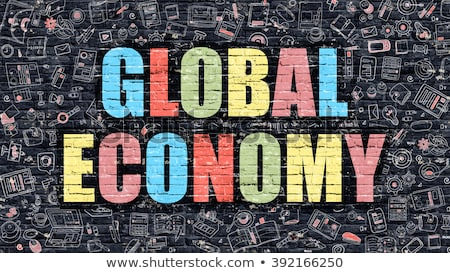 świat gospodarki ciemne gryzmolić stylu murem Zdjęcia stock © tashatuvango