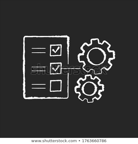 Stockfoto: Zwarte · lijst · schoolbord · werken · tabel