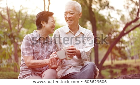 woman and old man with cups laughing Stock photo © IS2
