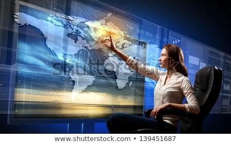 Stock photo: Hand Finger Press Global News Button.
