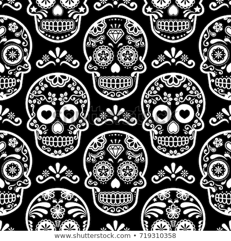 mexican sugar skull vector seamless pattern halloween candy skulls background day of the dead cele stock photo © redkoala